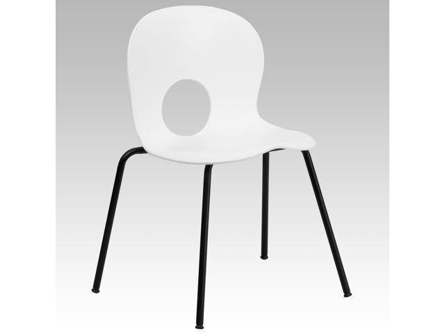 Flash Furniture HERCULES Series 770 lb. Capacity Designer White Plastic Stack Chair with Black Powder Coated Frame Finish