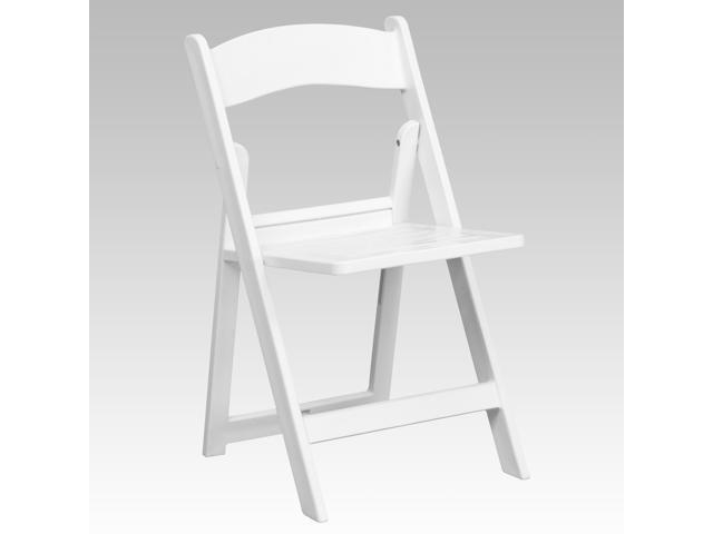Flash Furniture HERCULES Series 1000 lb. Capacity White Resin Folding Chair with Slatted Seat [LE-L-1-WH-SLAT-GG]