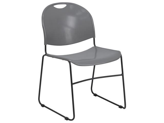 Flash Furniture HERCULES Series 880 lb. Capacity Gray High Density, Ultra Compact Stack Chair with Black Frame