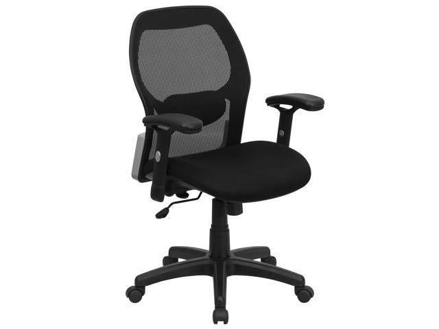 Flash Furniture Mid Back Super Mesh Office Chair With Black Fabric Seat LF W