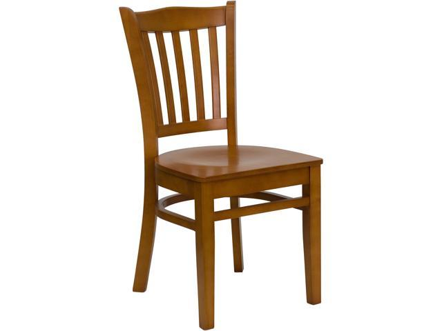 Flash Furniture HERCULES Series Cherry Finished Vertical Slat Back Wooden Restaurant Chair [XU-DGW0008VRT-CHY-GG]