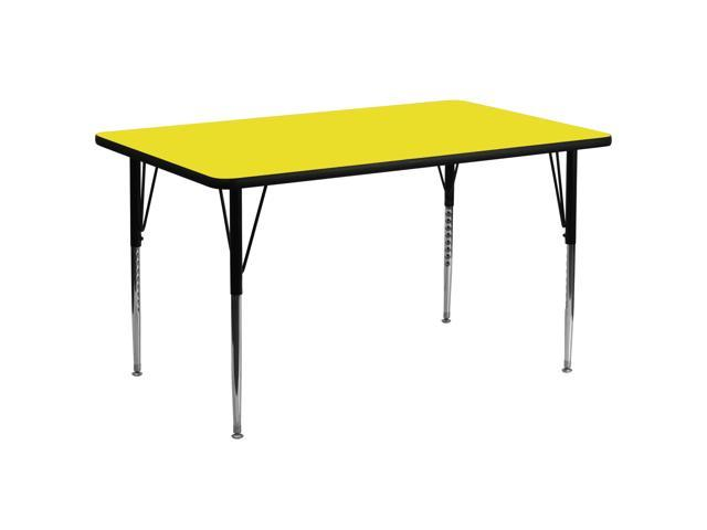Flash Furniture 30''W x 72''L Rectangular Activity Table with 1.25'' Thick High Pressure Yellow Laminate Top and Standard Height Adjustable Legs [XU-A3072-REC-YEL-H-A