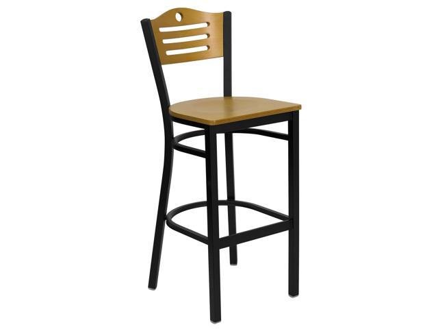 Flash Furniture HERCULES Series Black Slat Back Metal Restaurant Bar Stool with Natural Wood Back & Seat [XU-DG-6H3B-SLAT-BAR-NATW-GG]