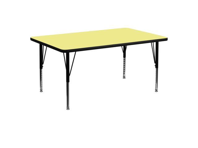 Flash Furniture 30''W x 60''L Rectangular Activity Table with Yellow Thermal Fused Laminate Top and Height Adjustable Short Legs
