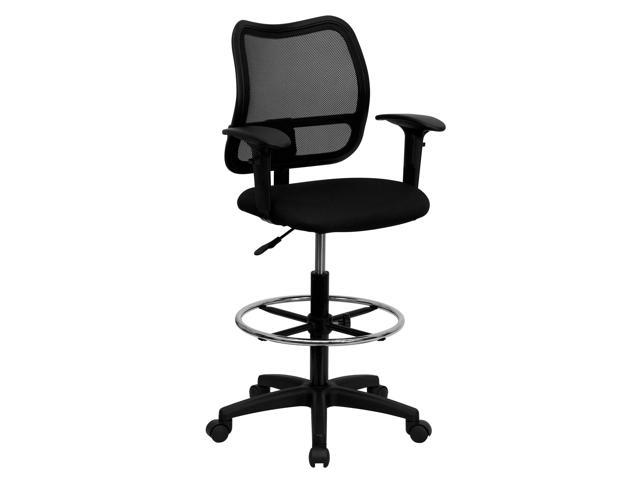 Flash Furniture Mid-Back Mesh Drafting Stool with Black Fabric Seat and Arms [WL-A277-BK-AD-GG]