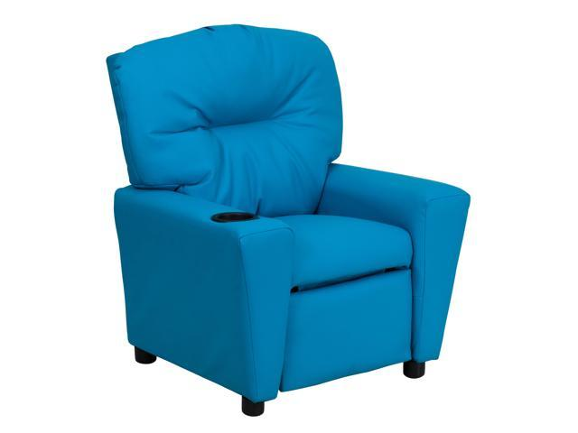 Flash Furniture Contemporary Turquoise Vinyl Kids Recliner with Cup Holder [BT-7950-KID-TURQ-GG]
