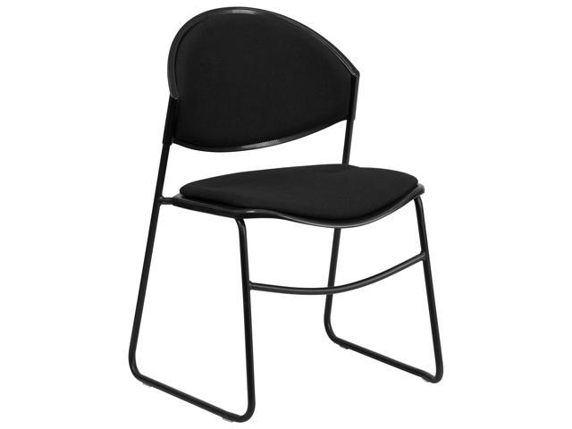 Flash Furniture HERCULES Series 550 lb. Capacity Black Padded Stack Chair with Black Powder Coated Frame Finish