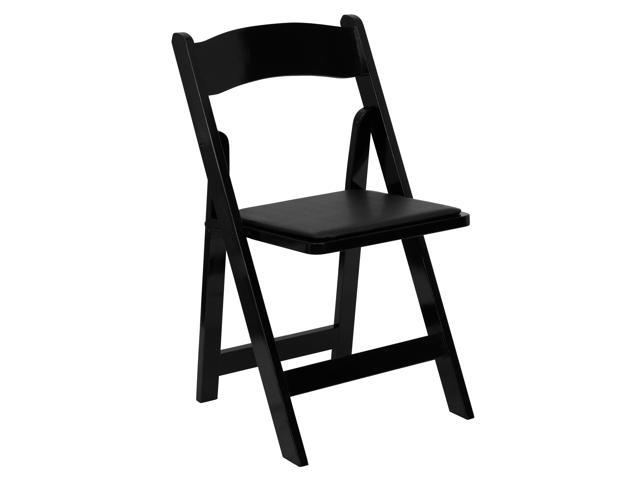 Flash Furniture HERCULES Series Black Wood Folding Chair with Vinyl Padded Seat [XF-2902-BK-WOOD-GG]