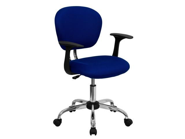 Flash Furniture Mid-Back Blue Mesh Task Chair with Arms and Chrome Base [H-2376-F-BLUE-ARMS-GG]