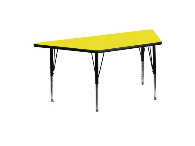 Flash Furniture 24''W x 48''L Trapezoid Activity Table with 1.25'' Thick High Pressure Yellow Laminate Top and Height Adjustable Pre-School Legs [XU-A2448-TRAP-YEL-H-