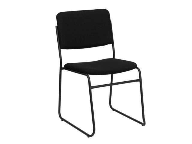 Flash Furniture HERCULES Series 1500 lb. Capacity High Density Black Fabric Stacking Chair with Sled Base