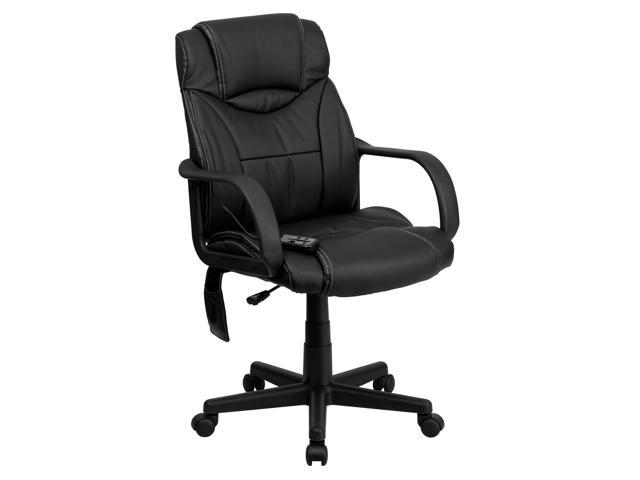Flash Furniture High Back Massaging Black Leather Executive Office Task Computer Desk Swivel Chair