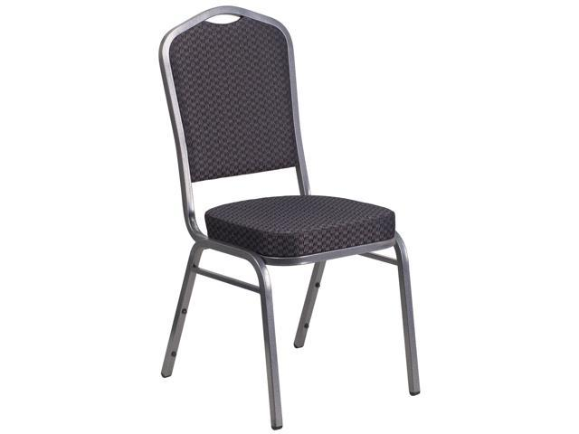 Back Stacking Banquet Chair with Black Patterned Fabric by Flash Furniture