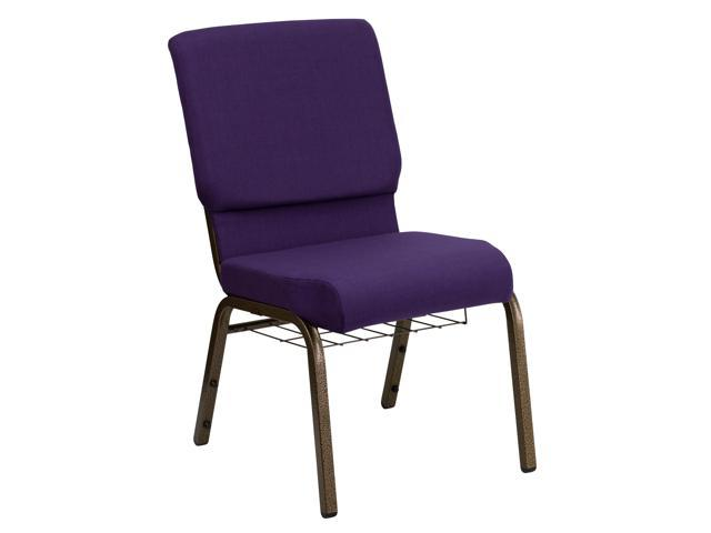 Flash Furniture HERCULES Series 18.5'' Wide Royal Purple Church Chair with 4.25'' Thick Seat, Communion Cup Book Rack - Gold Vein Frame [FD-CH02185-GV-ROY-BAS-GG]
