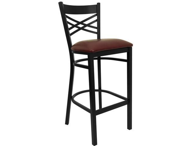 Flash Furniture HERCULES Series Black ''X'' Back Metal Restaurant Bar Stool with Burgundy Vinyl Seat [XU-6F8BXBK-BAR-BURV-GG]