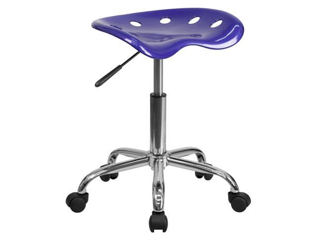 Flash Furniture Vibrant Deep Blue Tractor Seat and Chrome Stool [LF-214A-DEEPBLUE-GG]
