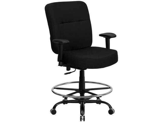 Flash Furniture HERCULES Series 400 lb. Capacity Big & Tall Black Fabric Drafting Stool with Arms and Extra WIDE Seat [WL-735SYG-BK-AD-GG]