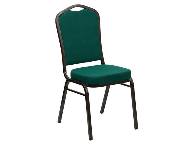 Flash Furniture Hercules Series Crown Back Stacking Banquet Chair With Green Fabric And 2.5'' Thick Seat - Gold Vein Frame [FD-C01-GOLDVEIN-GN-GG]