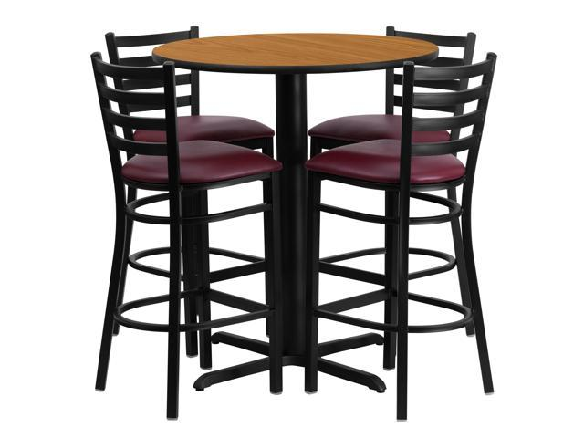 Flash Furniture 30'' Round Natural Laminate Table Set with 4 Ladder Back Metal Bar Stools - Burgundy Vinyl Seat [HDBF1027-GG]