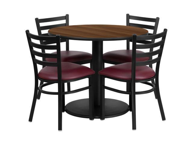 Flash Furniture 36'' Round Walnut Laminate Restaurant Dining Table Set with 4 Ladder Back Metal Chairs Burgundy Vinyl Seat