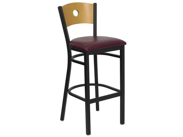 Flash Furniture HERCULES Series Black Circle Back Metal Restaurant Bar Stool with Natural Wood Back & Burgundy Vinyl Seat [XU-DG-6F6B-CIR-BAR-BURV-GG]