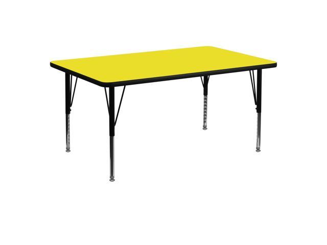 Flash Furniture 30''W x 60''L Rectangular Activity Table with 1.25'' Thick High Pressure Yellow Laminate Top and Height Adjustable Pre-School Legs [XU-A3060-REC-YEL-H