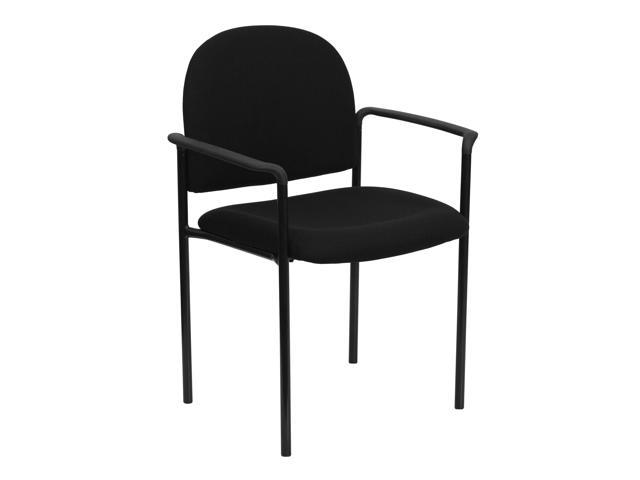Flash Furniture Black Fabric Comfortable Stackable Steel Side Chair with Arms [BT-516-1-BK-GG]