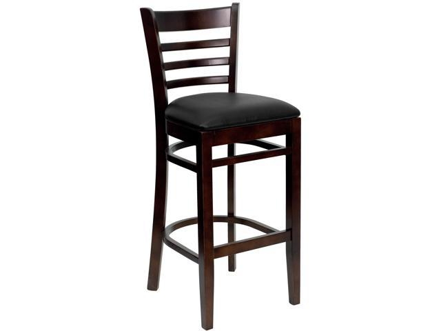 Flash Furniture HERCULES Series Walnut Finished Ladder Back Wooden Restaurant Bar Stool with Black Vinyl Seat [XU-DGW0005BARLAD-WAL-BLKV-GG]