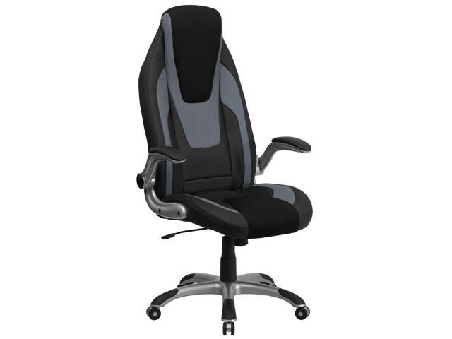 Flash Furniture High Back Black & Gray Vinyl Executive Office Chair with Black Mesh Insets and Flip Up Arms [CH-CX0326H02-GG]