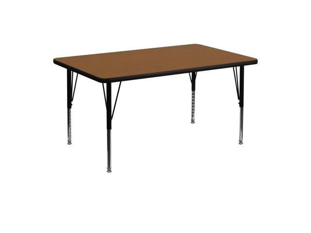 Flash Furniture 30''W x 48''L Rectangular Activity Table with 1.25'' Thick High Pressure Oak Laminate Top and Height Adjustable Pre-School Legs [XU-A3048-REC-OAK-H-P-