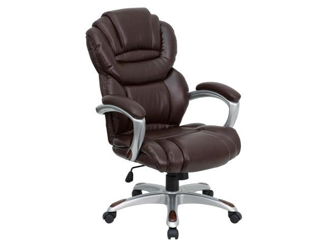 Flash Furniture High Back Brown Leather Executive Office Chair with Leather Padded Loop Arms [GO-901-BN-GG]