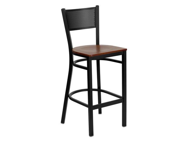 HERCULES Series Black Grid Back Metal Restaurant Barstool - Cherry Wood Seat