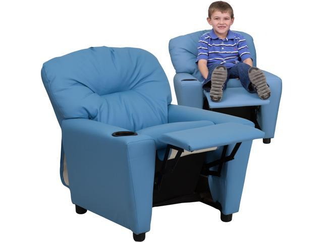 Flash Furniture Contemporary Light Blue Vinyl Kids Recliner Chair with Cup Holder