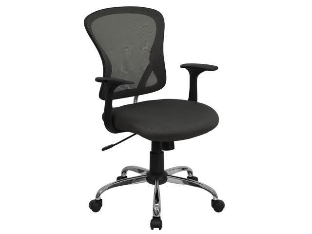Flash Furniture Mid-Back Dark Gray Mesh Office Chair with Chrome Finished Base [H-8369F-DK-GY-GG]