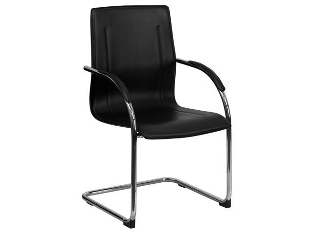 Flash Furniture Black Vinyl Side Chair with Chrome Sled Base [BT-509-BK-GG]