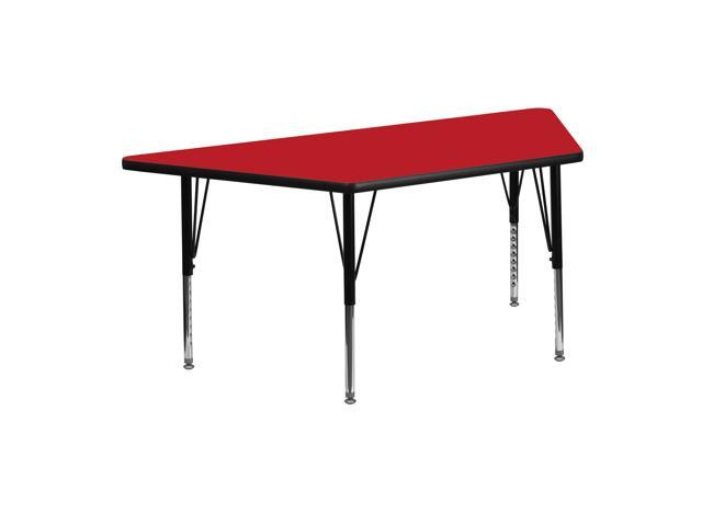 Flash Furniture 24''W x 48''L Trapezoid Activity Table with 1.25'' Thick High Pressure Red Laminate Top and Height Adjustable Pre-School Legs [XU-A2448-TRAP-RED-H-P-G