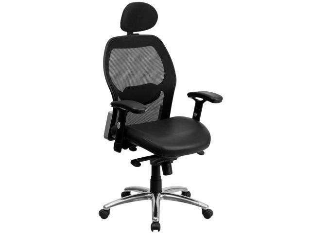 high back super mesh office chair with black italian leather seat