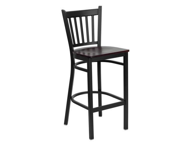 Flash Furniture HERCULES Series Black Vertical Back Metal Restaurant Bar Stool with Mahogany Wood Seat