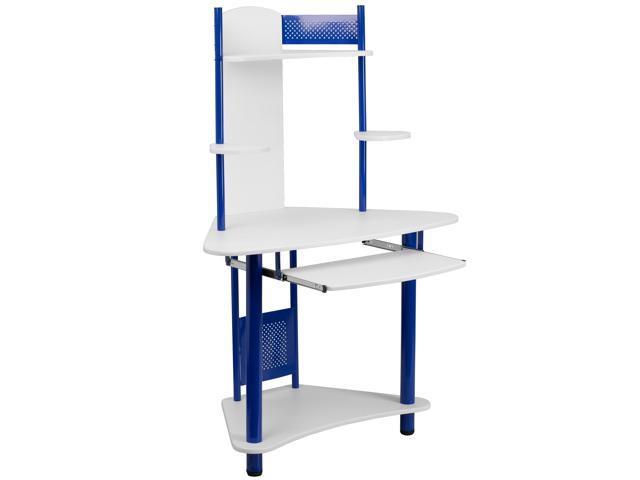 Flash Furniture Blue Corner Computer Desk With Hutch Nan
