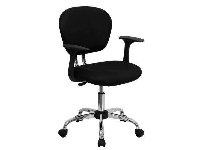 Flash Furniture Mid-Back Black Mesh Task Chair with Arms and Chrome Base [H-2376-F-BK-ARMS-GG]