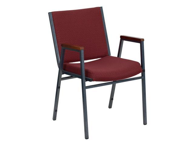 Flash Furniture HERCULES Series Heavy Duty, 3'' Thickly Padded, Burgundy Patterned Upholstered Stack Chair with Arms [XU-60154-BY-GG]