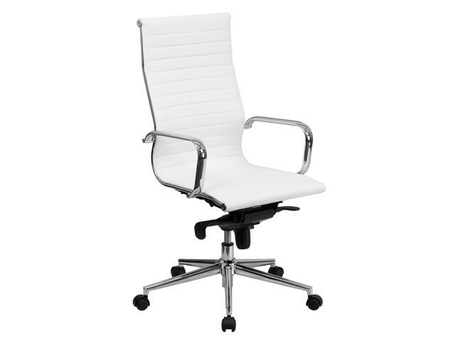 Flash Furniture High Ribbed Leather Dual Paddle Control Swivel Executive Office Desk Chair With Coat Rack Black White