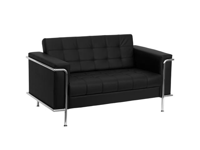 Lesley Series Black Leather Sofa with Encasing Frame by Flash Furniture