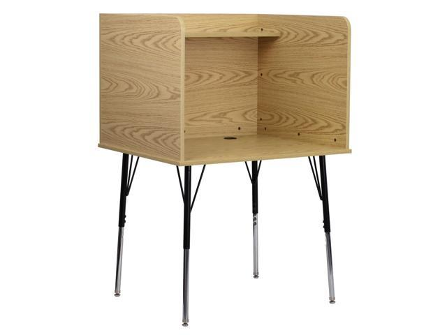 Flash Furniture Study Carrel with Adjustable Legs and Top Shelf in Oak Finish [MT-M6221-OAK-GG]