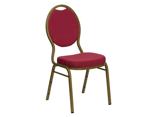 Flash Furniture HERCULES Series Teardrop Back Stacking Banquet Chair with Burgundy Patterned Fabric and 2.5'' Thick Seat - Gold Frame [FD-C04-ALLGOLD-2804-GG]