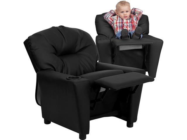 Flash Furniture Contemporary Black Leather Kids Recliner with Cup Holder [BT-7950-KID-BK-LEA-GG]