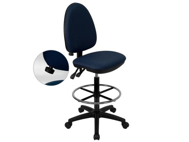 Flash Furniture Mid-Back Navy Blue Fabric Multi-Functional Drafting Stool with Adjustable Lumbar Support [WL-A654MG-NVY-D-GG]