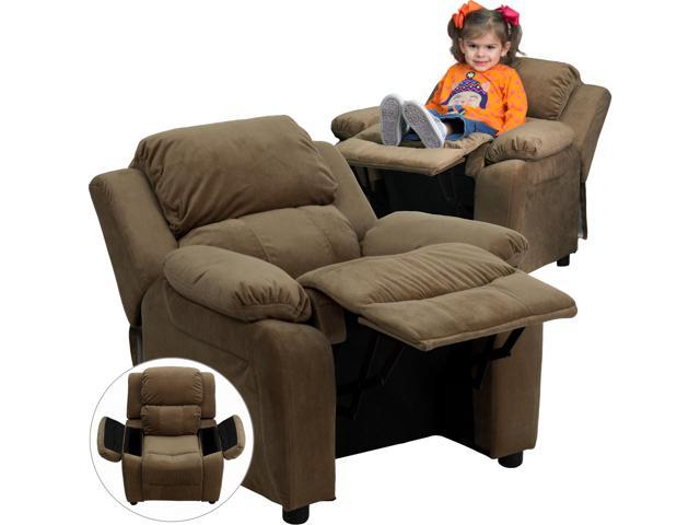 Deluxe Heavily Padded Contemporary Brown Microfiber Kids Recliner with Storage Arms [BT-7985-KID-MIC-BRN-GG]