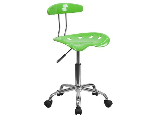 Flash Furniture Vibrant Apple Green and Chrome Computer Task Chair with Tractor Seat [LF-214-APPLEGREEN-GG]