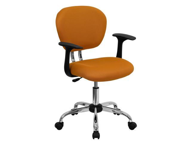Flash Furniture Mid-Back Orange Mesh Task Chair with Arms and Chrome Base [H-2376-F-ORG-ARMS-GG]